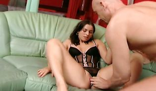 Enticing brunette sweetheart Lola gets her fishnet covered sweetheart pot drilled without mercy