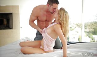 Slender blond Molly Bennett receives a vicious pounding