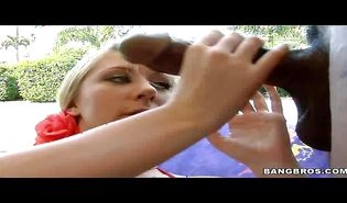 Tempting blond Londyn rapidly toys her nympho clit while being fiercely drilled