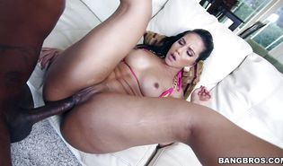 Dazzling latin dark-haired Rose rides a fat boner