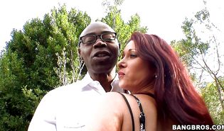 Attractive big breasted Tiffany Mynx smiles while she is being banged hard