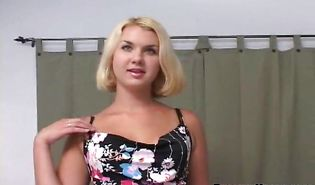 Breathtaking blonde hottie Lena laughs at hard lever but rides it in any case