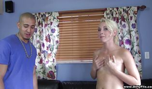 Foxy blond Ashley Stone whimpers while being fiercely doggy styled