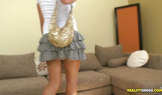 Appetizing golden-haired cutie Stacey Hopkins is gently and thoroughly sucking a huge dangler and getting ready to ride it