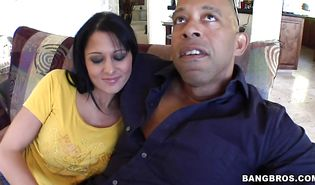 Inviting dark-haired Alison Star is wild when it comes to sucking a huge meat rocket until it explodes