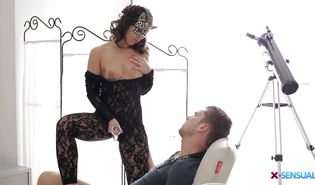 Mesmerizing dark-haired gf Amirah Adara gets banged on the balcony with amazing view