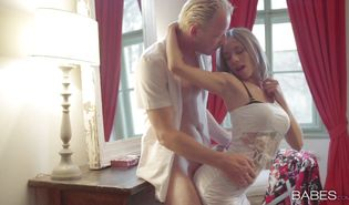 Angelic blond maid Tracy chokes on beef bayonet and gets roughly banged