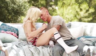 Sexy blonde Chloe Foster with a nice round a-hole is getting banged in a doggy style position